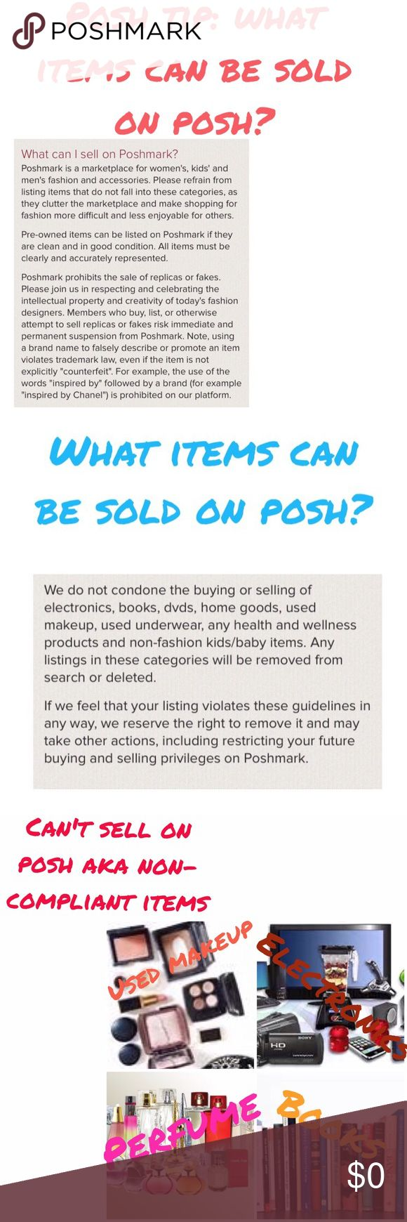 Host picks will be chosen from compliant closets I am looking for host picks for my upcoming simply chic party on 4/15/17.....I will be only picking from posh compliant closets...what can be sold on posh (compliant items) vs. what can't be sold on posh (non-compliant items) can be seen in this listing and are screenshots from Posh FAQs.  Selling non compliant means you can't be a suggested User, can't host posh parties or get host picks from the host of those parties, risk deletion of the…