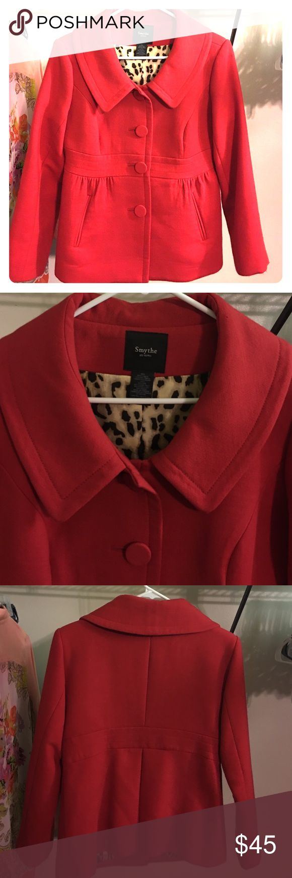 Red Pea Coat Single breasted, says size 10 and fits like a medium, very cozy and chic! Smythe Jackets & Coats Pea Coats