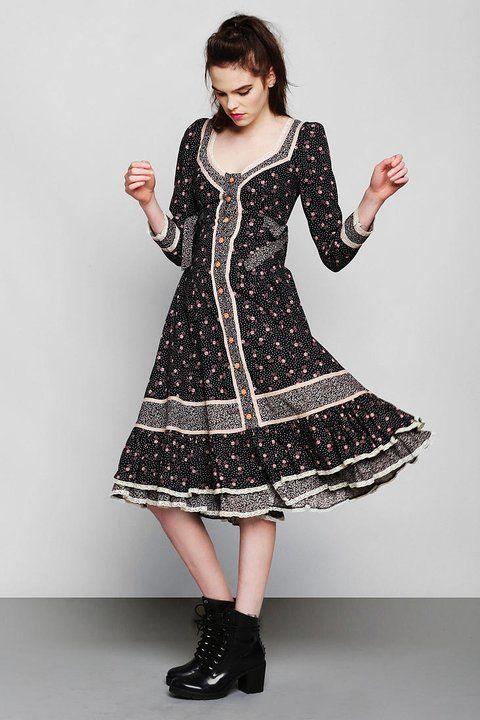 Vintage Gunne Sax Floral Prairie Dress