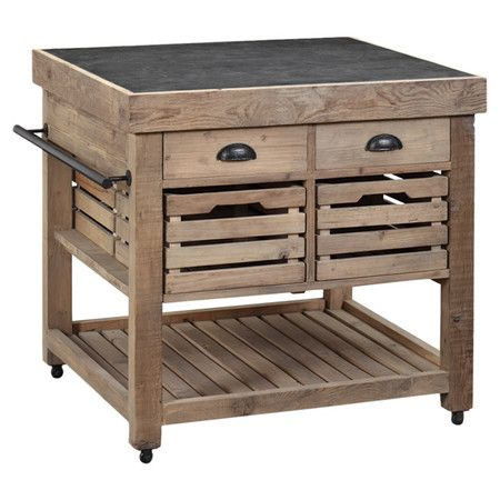 Eco-friendly kitchen island with casters and 4 drawers accessible from both sides. Features an open bottom shelf and side towel rack.  ...