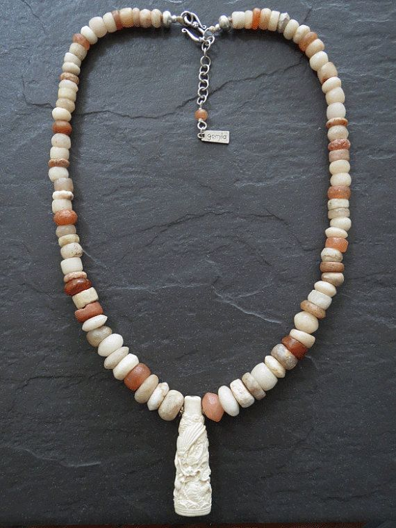 Antique Mali Carnelian Agate Necklace with Carved by GEMILAJewels