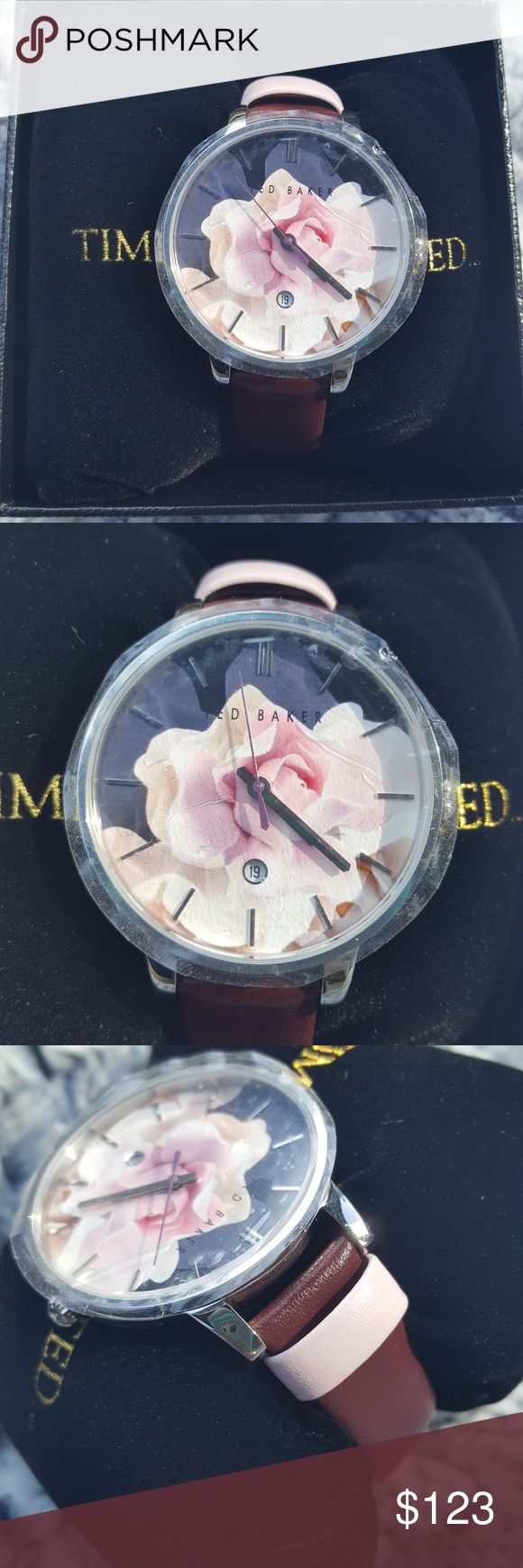 Ted Baker Floral Oversized Watch This Ted Baker London watch is new with tags and the Box. The floral face is beautiful and it even includes the day of the month. The plastic still covers the face so there are absolutely no scratches. The band is a beautiful maroon accented with a pale pink. Ted Baker London Accessories Watches