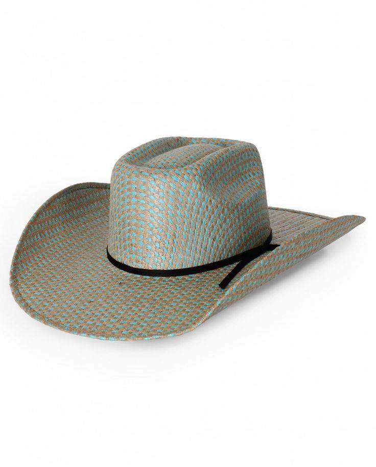 Rodeo King Tan Turquoise Vegas Jute Brick Straw Western Hat