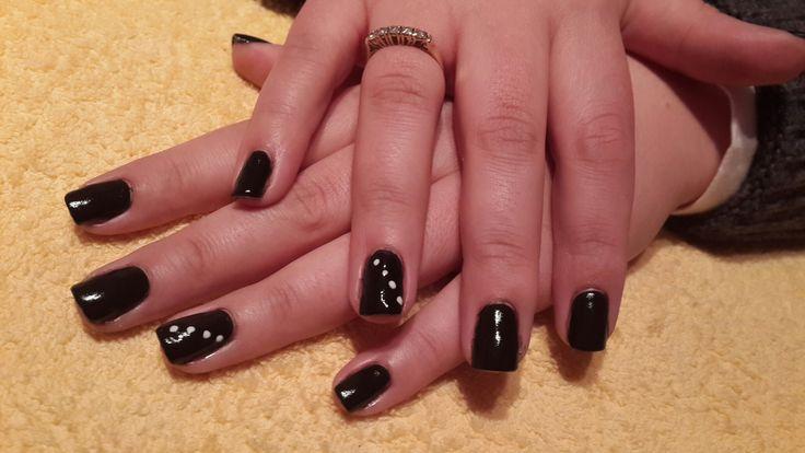 Black Acrylic with Nail Art