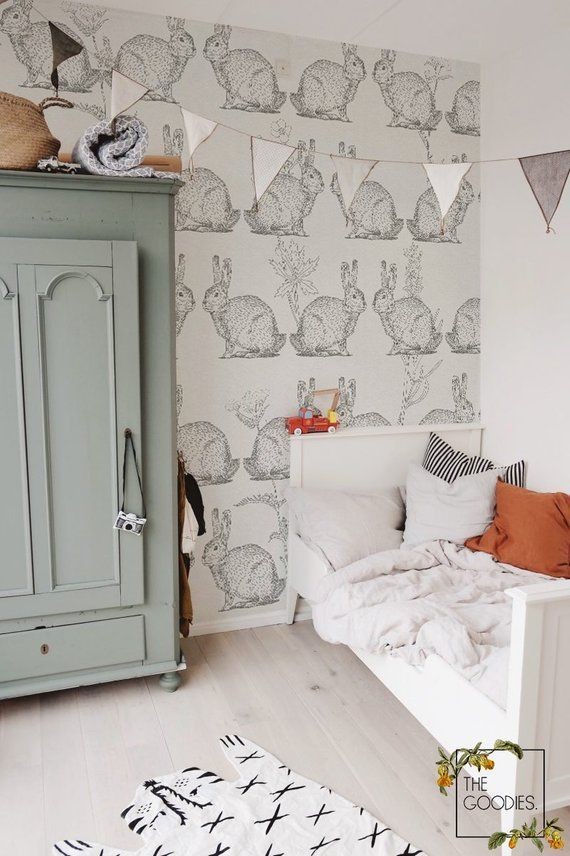 Rabbit wallpaper rabbit mural painting paper