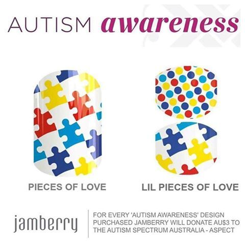 """The Autism Awareness wraps have launched and they will be helping to raise money for Autism around the globe - In Australia they are AU: $22.00 (AU$3.00 of each wrap sold will be donated to the Autism Spectrum Australia — Aspect). If you would like to support a worthy cause please visit http://thenailchest.jamberrynails.com.au and purchase the amazing designs """"Pieces of Love"""" and """"Lil' Pieces of Love"""" ."""