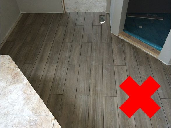 brick laid wood look tiles no no