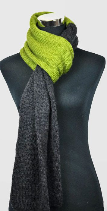 Men's knit scarf.Grey and Olive green hand knit by CopperPenni