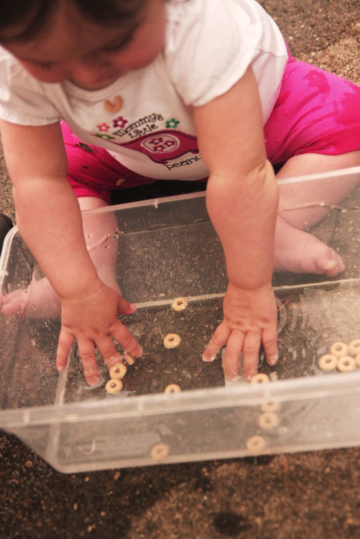 Help increase baby's fine motor skills by letting them fish for cereal.