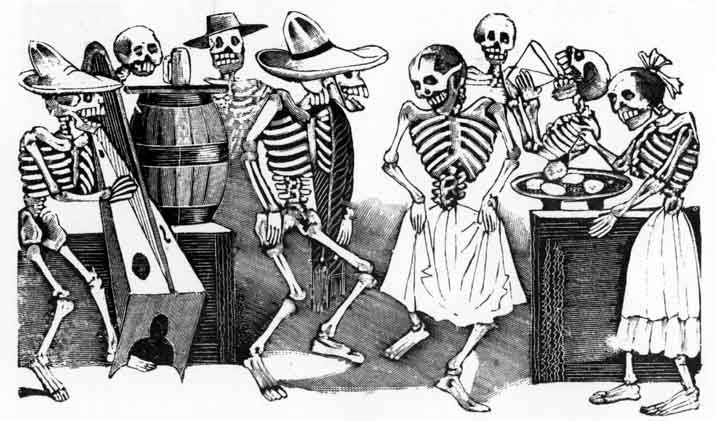Jose Guadalupe Posada...brilliant cartoonist (1852-1913) found more facial expression and human nuance in the depiction of naked skulls than most cartoonist can or have derived from flesh.