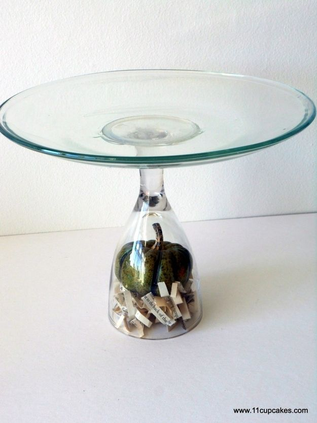 Glue a plate to a wine glass to make a cake stand. | 24 Clever Things To Do With WineGlasses