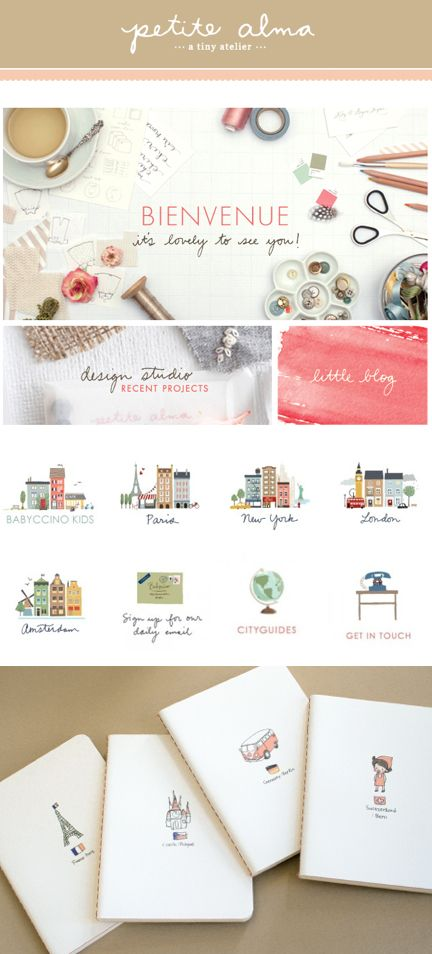 Petite Alma Web Design- these illustrations are adorable, I love the colors…