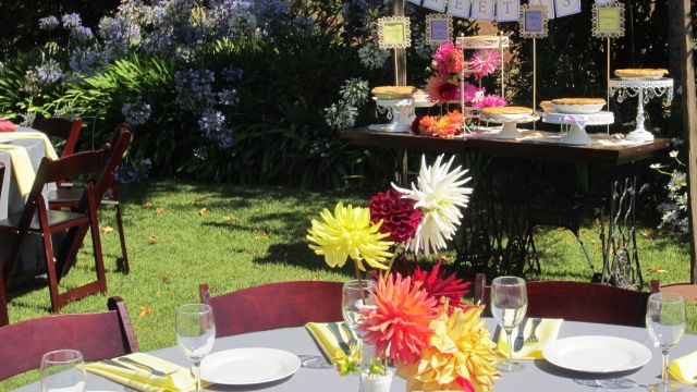 vases of single dahliasTables Centerpieces, Single Dahlias
