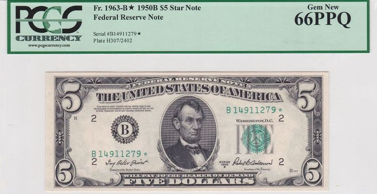 Star 1950B $5 Federal Reserve Note New York PCGS 66 PPQ Gem Uncirculated UNC FRN | Coins & Paper Money, Paper Money: US, Small Size Notes | eBay!