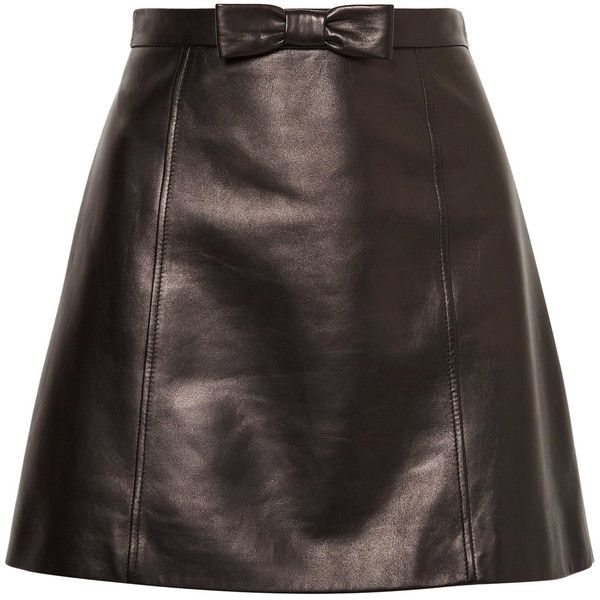 Miu Miu Bow-embellished leather mini skirt ($1,295) ❤ liked on Polyvore featuring skirts, mini skirts, bottoms, falda, party skirts, leather miniskirt, high waisted skirts, bow skirt and high waisted a line skirt