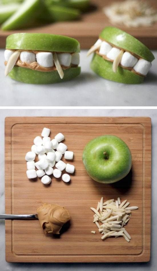 Marshmallow + Apple Vampire Teeth | Click Pic for 21 DIY Halloween Crafts for Kids to Make | DIY Halloween Crafts for School Parties