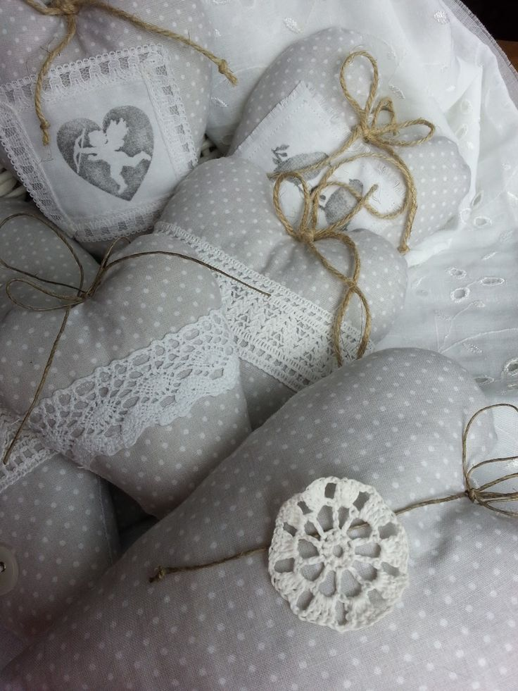 Pasja dekorowania : Serducha z tkaniny