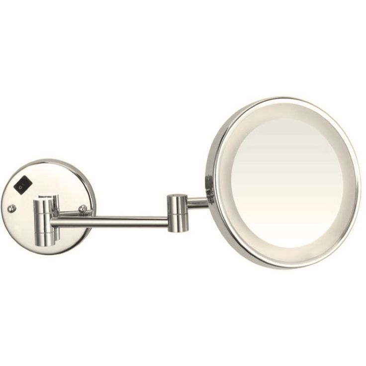 The Glimmer LED Wall-Mounted Round Makeup Mirror has it all: a built in light, magnification, wall mounted, and an extendable arm. http://www.ybath.com/blog/friday-favorites-modern-makeup-mirrors/