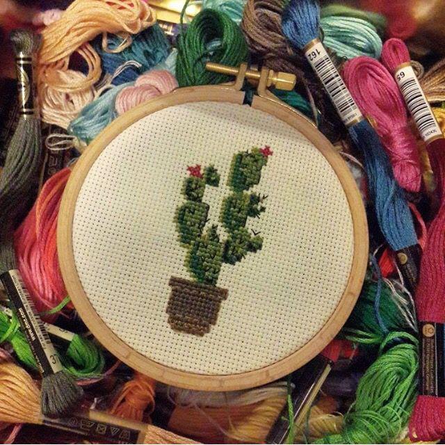 Cactus, cross stitch  Kaktüs, çarpıişi, kaneviçe