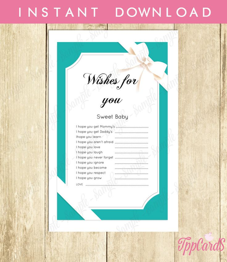 New to TppCardS on Etsy: Instant Download Aqua Blue Wishes for Baby Game Classic White Bow Baby Shower Games for Girl or Boy Wish for Baby Shower Game (4.00 EUR)