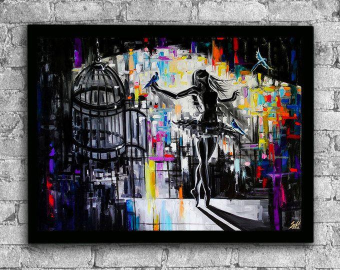 Käfig Öl Druck, Ballerina, Ballerina-Kunst, Malerei, Druck, Ballerina Ballett-Kunst, Ballet Gemälde, Drucke, schwarz und weiß Kunst Ballerina