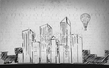 Рисунок из города на фоне кирпичной стены — стоковое изображение #107853204