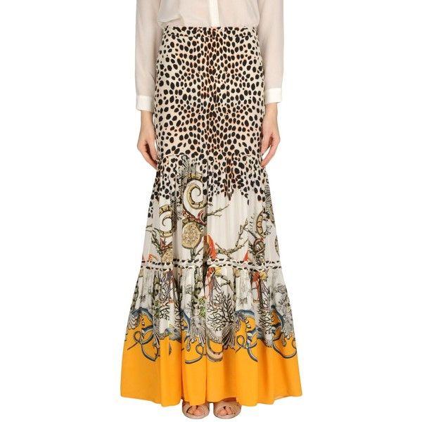 Roberto Cavalli Long Skirt ($661) ❤ liked on Polyvore featuring skirts, beige, multicolor skirt, maxi skirts, multi colored maxi skirt, brown maxi skirt and zipper skirt