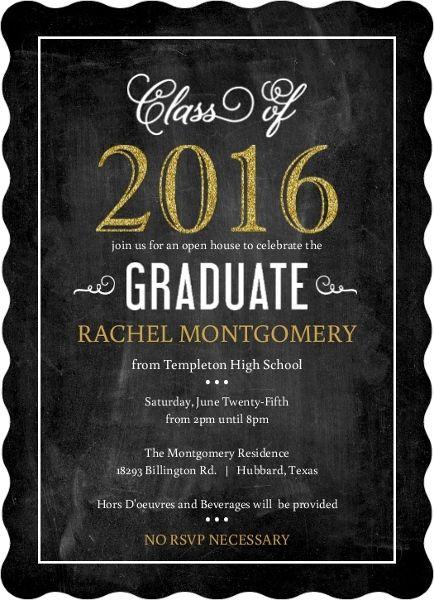 Faux Glitter Celebrations Graduation Invitation