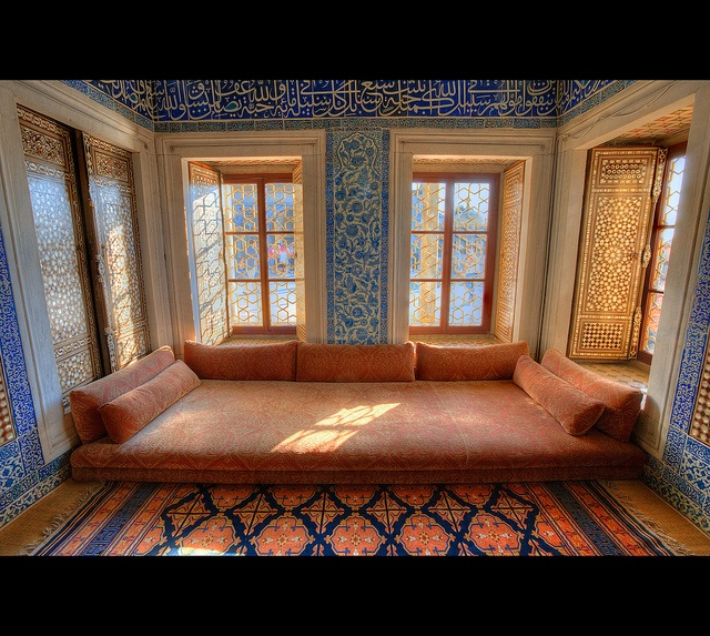 Light, scripted ornate windows, reading nook to fit the space, wow. Topkapi Palace, Istanbul.