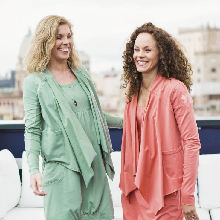 Fidelity cardigan - eucalyptus / spring peach | Summer catalog - From Barcelona with love by ...