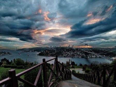 again-istanbul - bosphorus, bridge, travel, stars, clouds, city, istanbul, turkey, tourism, sea