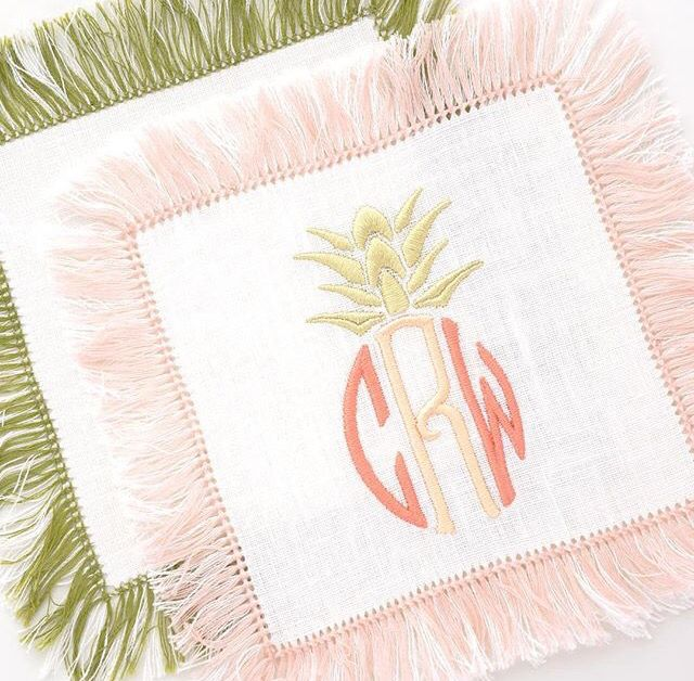 Pineapple Monogram Cocktail Napkins with Fringe | the loveliest
