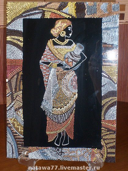 """Этно ручной работы. Ярмарка Мастеров - ручная работа. Купить """"Красавицы Африки"""". Handmade. Точечная роспись, декоративное панно, стекло"""