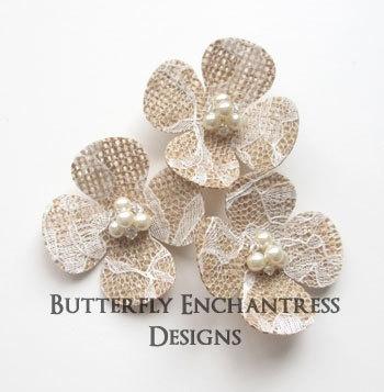 Burlap Lace Wedding Flowers, Bridal Hair Accessories, Rustic Farm Wedding - 3 Hydrangea Flower Hair Combs. $29.99, via Etsy.