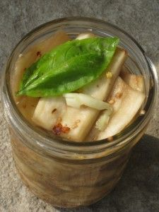 Followed this recipe to preserve eggplant. Turned out really yummy & what a way to stretch those 50 cent summer eggplants!