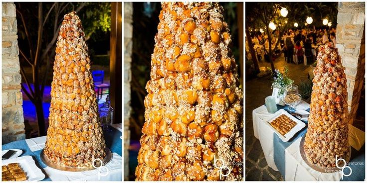 A towering Croquemboche to celebrate our Paris couple - thank you to Mathiassos Bakery. Islandevents.gr styling dessert tables. #naxosweddings