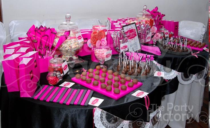 Mesa de Golosinas Fucsia y Negro   Candy Bar 15 Años   Pinterest ...