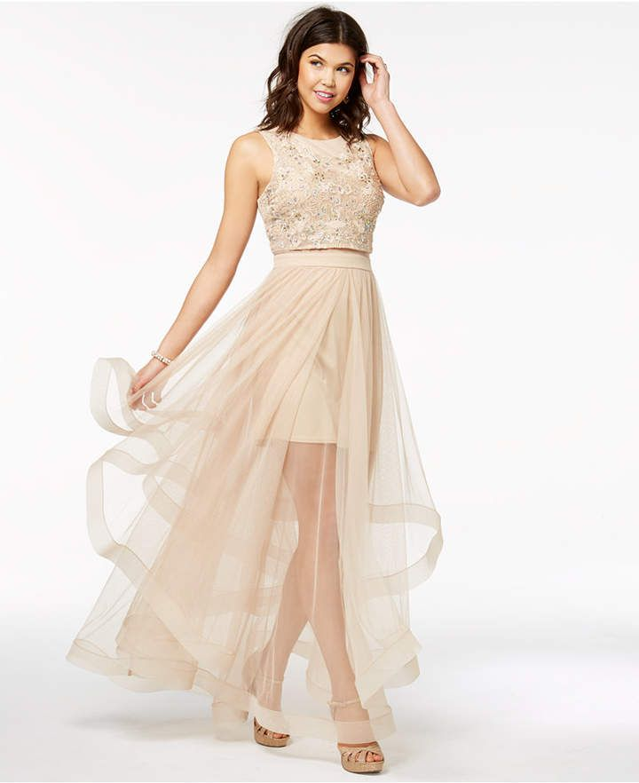 b82df2180 Say Yes to the Prom Juniors' Embellished Illusion-Skirt Dress, a Macy's  Exclusive Style