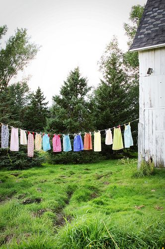 This is a familiar site...  we grew up with a lot of clothes hanging on a line outdoors and in the winter indoors.  We always had a washer (with wash tubs when I was younger) but no clothes dryer.  We were a family of 8 people, so there were a lot of clothes to hang.