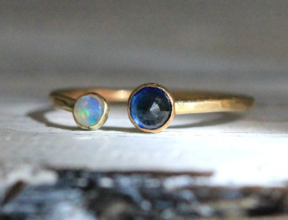 Two Gemstone Double Birthstone Adjustable Stacking by palefishny, $104.00