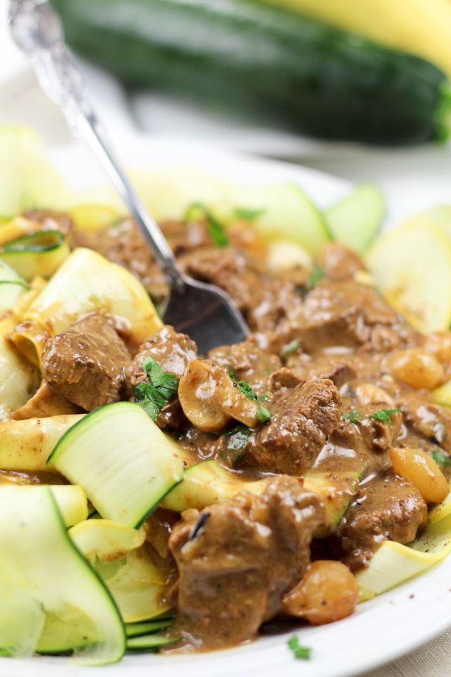 Lean Beef Stroganoff on Zucchini Ribbons   Recipe