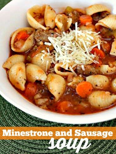 This thick and hearty minestrone with sauage is as filling as a stew.