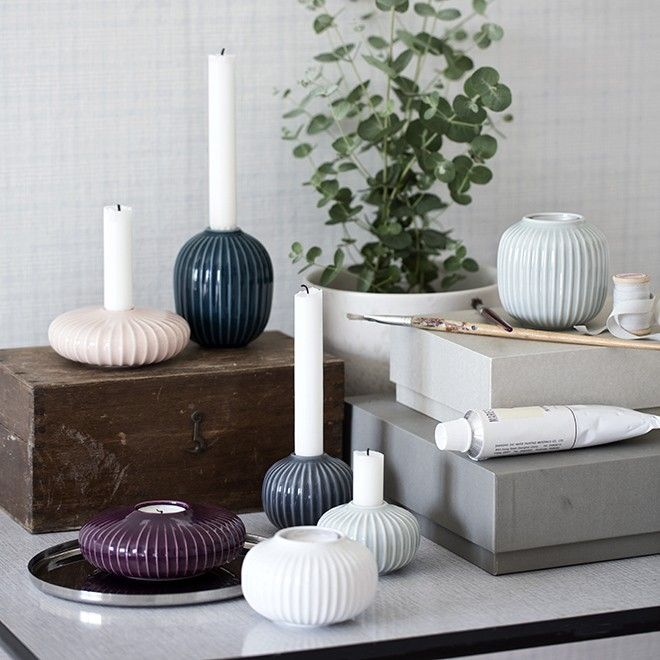 The beautiful Hammershøi tealight holders come in a variety of shapes and heights, all perfect for lighting corners, window sills and tables, whether positioned alone or in small groups. Use a large, stylish white Hammershøi tealight holder in your design tableau to create a calm look that exudes elegance.
