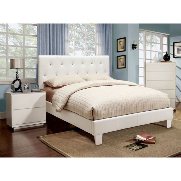 white bed set furniture of america mircella 2 white leatherette 13815