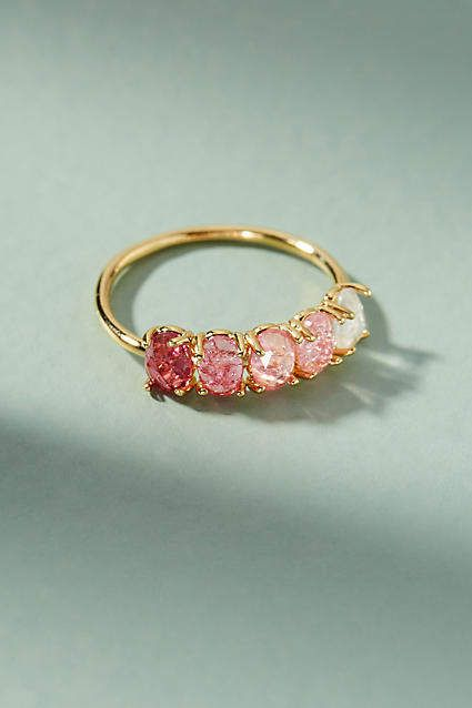 50a9faa55e22 Ombre Birthstone Ring - Possible with different shades of rubies fading to  lighter pink  Rose gold band.