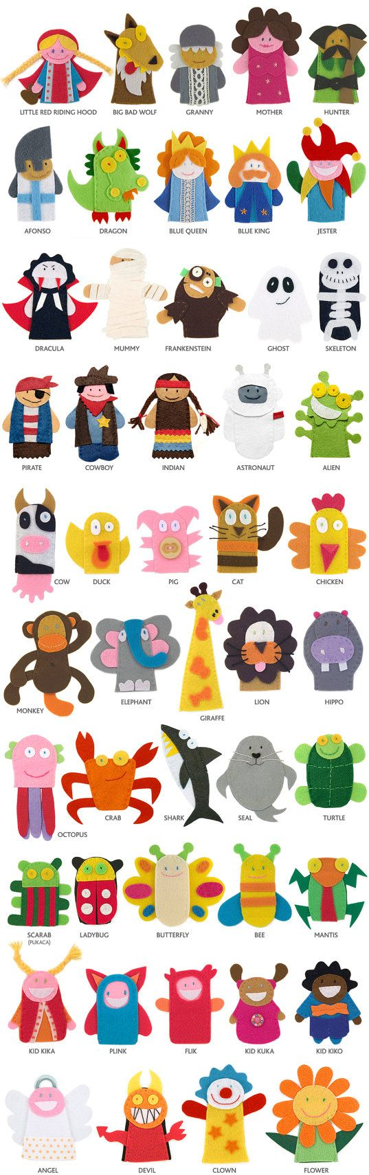 5 Finger puppets choose 5 finger puppets and the color by pukaca