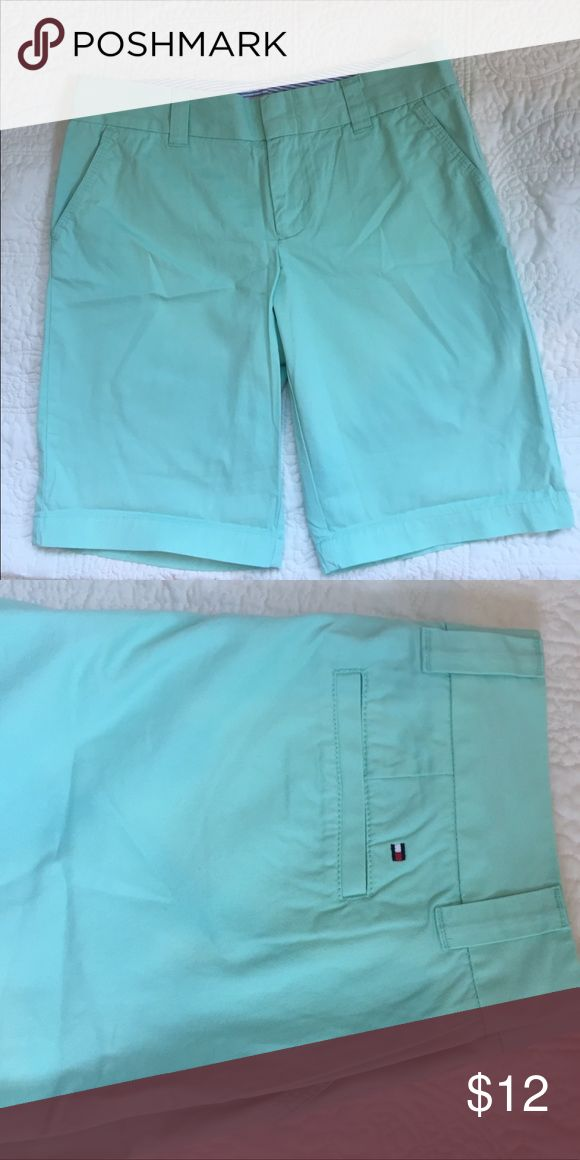 "Tommy Hilfiger Bermuda mint green shorts These are  cute light mint green chino shorts.  The inseam is 11"".  They have only been worn one time. Excellent condition. Tommy Hilfiger Shorts"