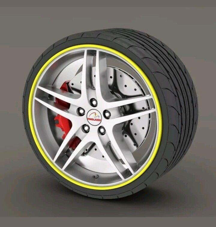 Kabis Rimblades YELLOW Alloy Wheel Rim Protector Tire Guard Rubber NEW #kabis