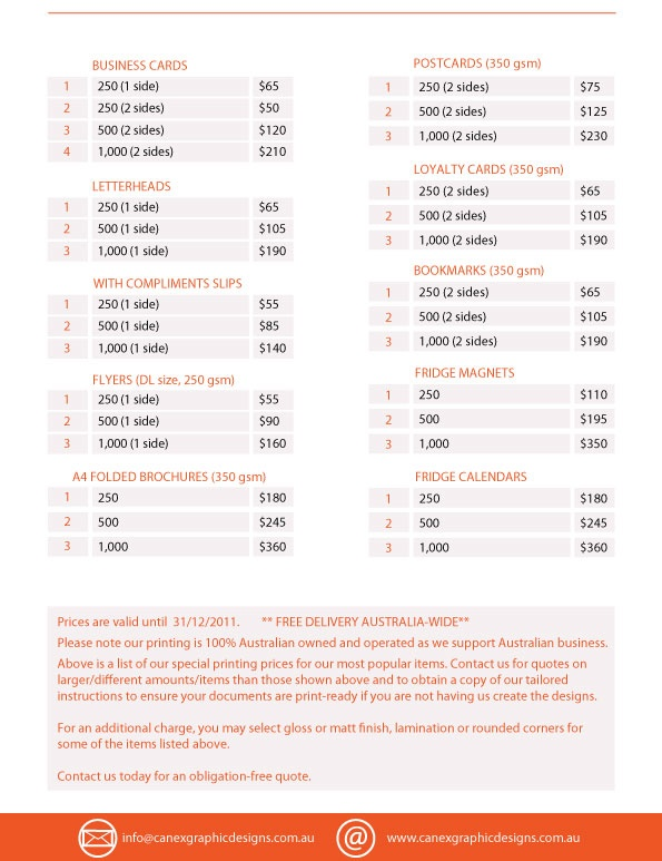 Graphic Design Price List Pdf India