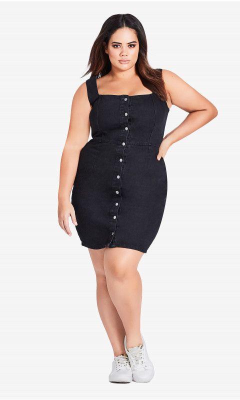 Shop Womens Plus Size Buttoned Denim Dress Dresses City Chic Au